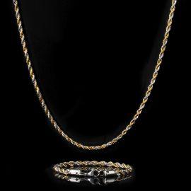 Juego de Cadena de Cuerda de Dos Tonos de Oro y Plata de 5 mm