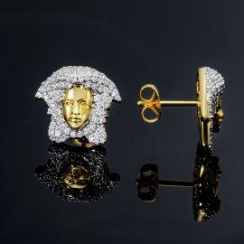 Pendientes de Oro con Diamantes con Diseño de Gorgon