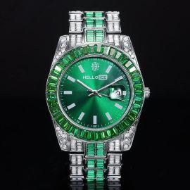 Reloj de Aleación de Dos Tonos con Esfera de Verde y Talla Baguette