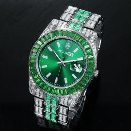 Reloj con Bisel de Esmeralda y Fecha de Plata para Hombre