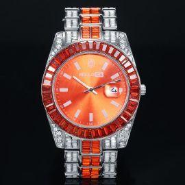 Reloj de Aleación de Dos Tonos con Esfera de Naranja y Talla Baguette
