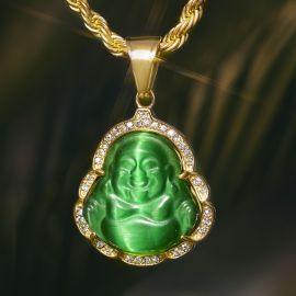 Colgante de Buda de Jade Verde con Diamantes