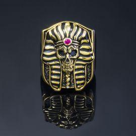 Anillo con Cráneo de Faraón de Dos Tonos