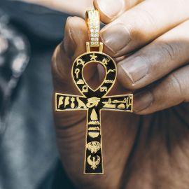 Cruz de Ankh Egipcia con Jeroglíficos Colgante de Oro