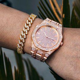 Reloj de lujo con esfera en forma de octágono de oro rosa con diamantes
