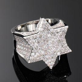 Anillo de la Estrella de David con Diamantes  de Plata