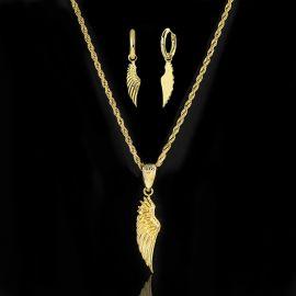 Juego de Colgante y Pendientes de Alas de Ángel de Oro