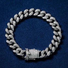 13mm Pulsera Cubana con Diamantes Chapada en Oro Blanco de 18K