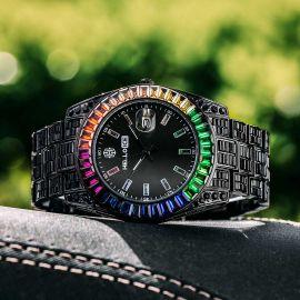 Reloj Arcoiris de Corte de Baguette de Oro Negro para Hombre