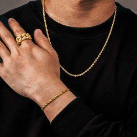 3mm Juego de Cadenas de Eslabones de Cuerda de Oro