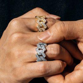 Anillo Cubano de Puntas con Diamantes de 14 mm de Plata