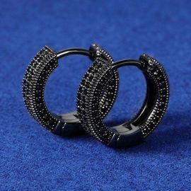 Negro Pendiente de Aro para Mujer con Diamantes