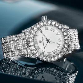 Reloj de Hombre de Esfera Blanca con Números Romanos de Plata con Diamantes