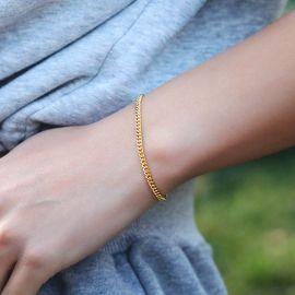 Pulsera Cubana de Oro de 3 mm para Mujer