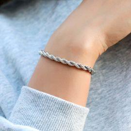Pulsera de Cuerda de Plata de 5 mm para Mujer