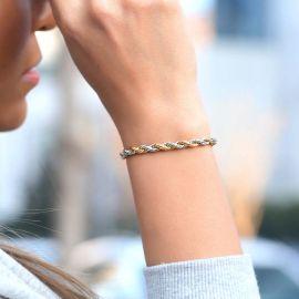 Pulsera de Cuerda de Oro y Plata de 5 mm para Mujer
