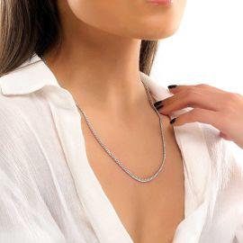 Cadena Cubana de Plata de 3 mm para Mujer