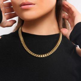 Cadena Cubana de Acero Inoxidable de Oro de 8 mm para Mujer
