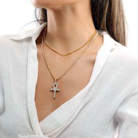 Colgante Ankh de Oro con Diamantes para Mujer