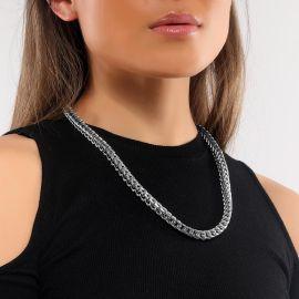 Cadena Cubana de Acero Inoxidable 316L de Plata de 8 mm para Mujer