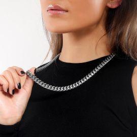 Cadena Cubana de Acero Inoxidable 316L de 12 mm para Mujer