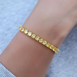 Pulsera de Tenis con Piedras Amarillas de Fantasía de 5 mm de Oro