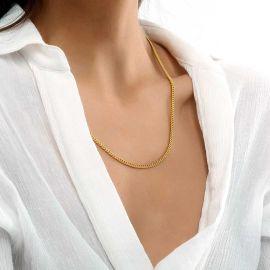 Cadena Cubana  de Oro de 3 mm para Mujer