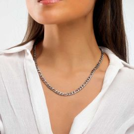 Cadena Figaro de Acero Inoxidable de 5 mm para Mujer