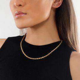 Cadena de Cuerda de 5 mm con Chapado en Oro de 18K para Mujer