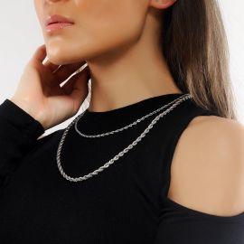 Cadena de Cuerda de Plata de 5 mm para Mujer