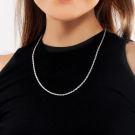 Cadena de Cuerda de Plata de 18K de 3 mm para Mujer