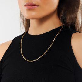 Cadena de Cuerda de 3 mm con Chapado en Oro de 18K para Mujer