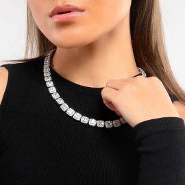 Collar de Tenis de 10 mm con Diamantes Baguette de Plata