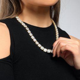 Collar de Tenis de 10 mm con Diamantes Baguette de Oro
