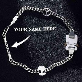 Cadena Cubana de Hebilla de Cinturón de Letras Personalizada con Rayo, Paz, Signo de Calavera para Mujer