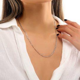 Cadena Figaro de Plata de 3 mm para Mujer