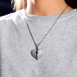 Colgante de Corazón Roto de Plata con Diamantes para Mujer