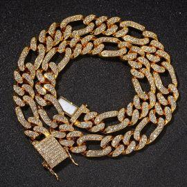 Cadena Cubana Figaro de 13mm con Diamantes para Mujer