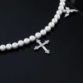 Collar de Perlas con Cruz y  Ángel Rezando para Mujer