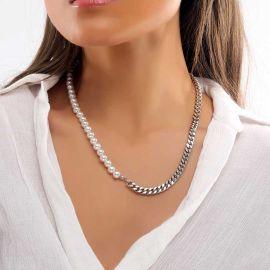 Collar de Media Perla y Cadena Cubana de Acero para Mujer