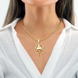Colgante de Ojo de Horus de Pirámide Egipcia de Oro para Mujer