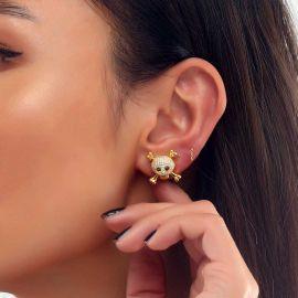 Pendientes de Calavera y Huesos Cruzados con Diamantes para Mujer