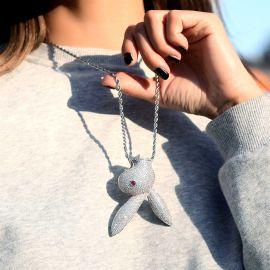 Colgante de Cabeza de Conejo al Revés de Plata con Diamantes para Mujer