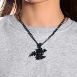 Colgante de Pequeño Dragón de Oro Negro para Mujer con Diamantes