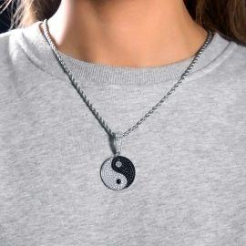 Colgante de Yin Yang de Plata con Diamantes para Mujer