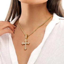 Colgante de Cruz Cristiana con Piedras Baguette de Oro para Mujer
