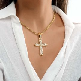 Colgante Cruz con Piedras Baguette y Redondas de Oro para Mujer