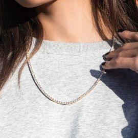 Collar de Tenis de 3 mm de Oro para Mujer