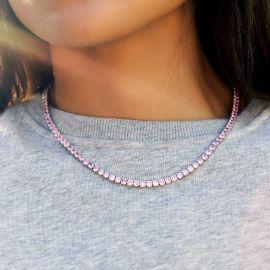 Cadena de Tenis de 4 mm de Plata con Diamantes Rosas para Mujer