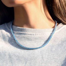 Cadena de Tenis con Diamantes Azules de 4 mm de Plata de 18K